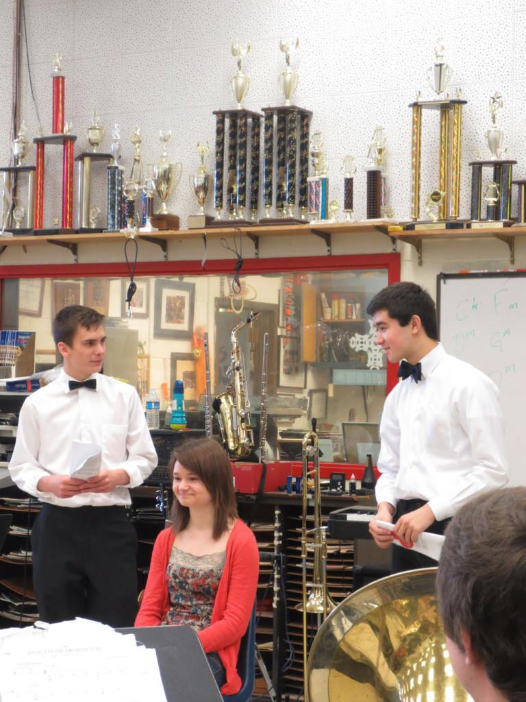 Sophomore Gus Truslow and Junior Tim Schauer perform poetry for senior Rachael Stukenborg during 4th period.