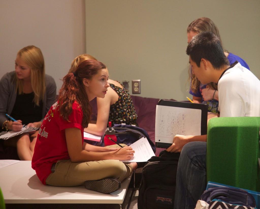 Junior Morgan Painley tutors junior Youngmin Cho.