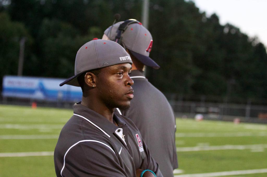 New running back coach, Perry Jones, looks on as Massaponax defeats Albemarle 14-35.