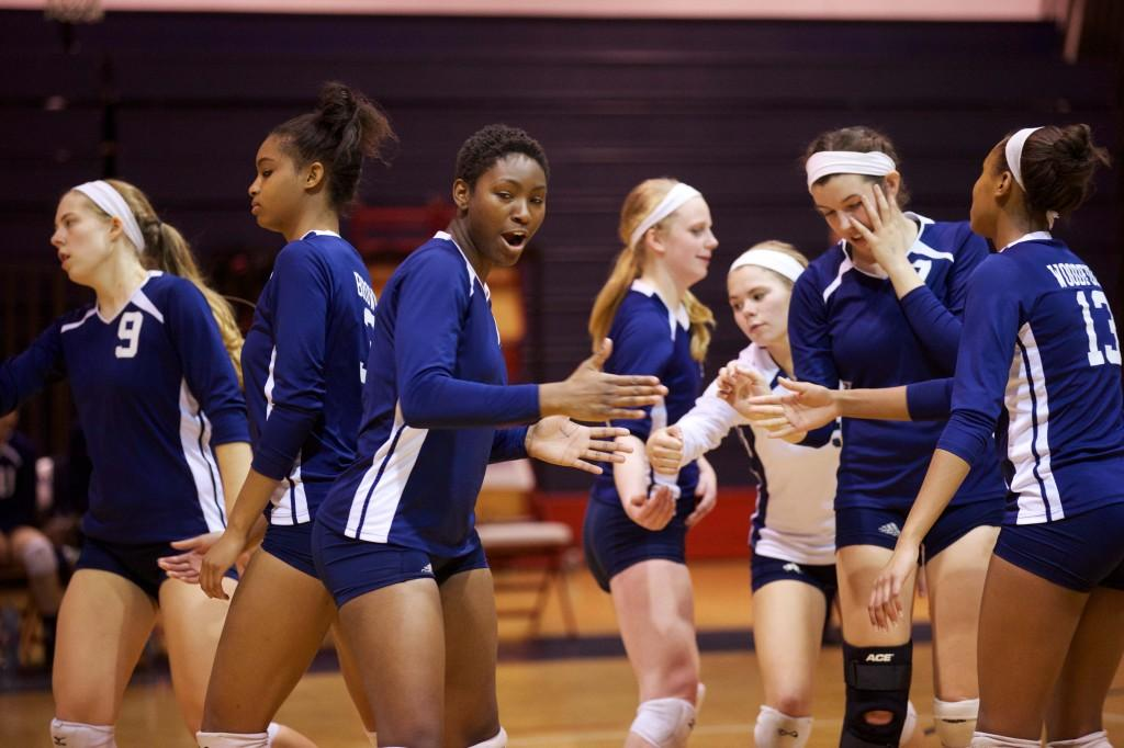 Senior Alexus Anderson motivates the Albemarle girls at home in their 3-0 victory over Halifax in the Conference championships on Nov. 11.