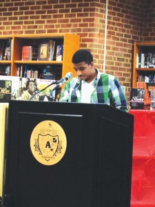 Senior Desmond Jones, a member of the Ethnic Studies class, presents his speech on Malcolm X.