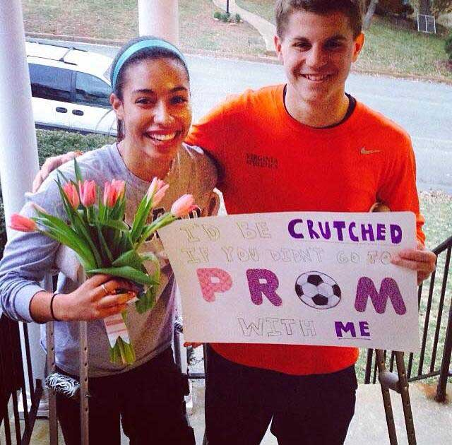 Junior Connor Porco asks Junior Carmen Thomas to Prom with a poster, flowers, and the line