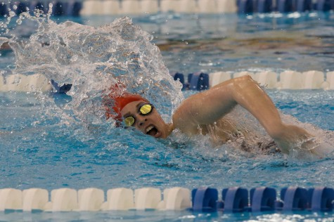 Junior Madison Noga swims the 500 freestyle at States.