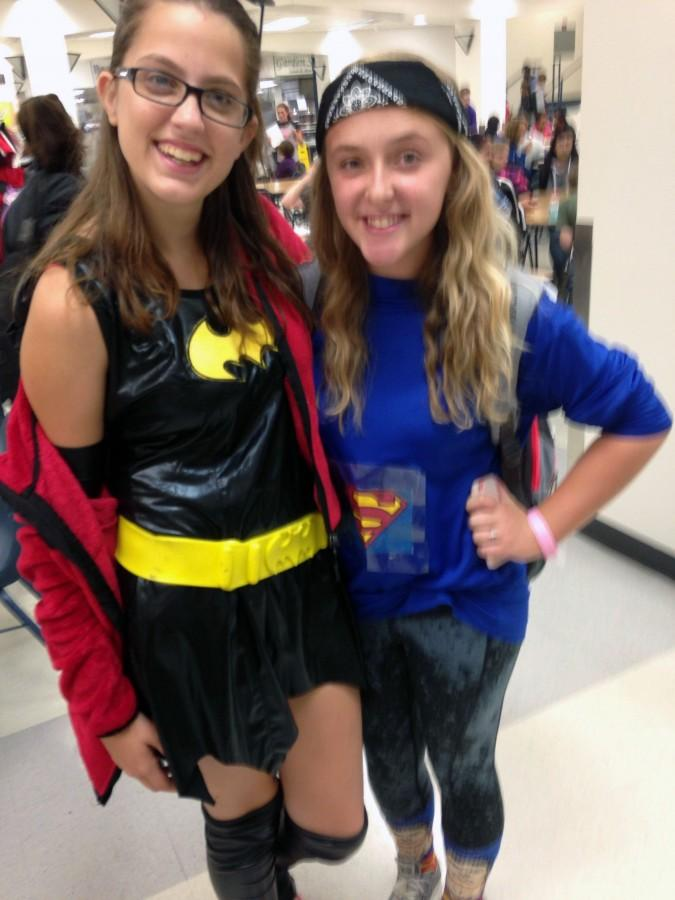 Freshmen+Britni+Moore+%28left%29+and+Madi+Foley+%28right%29+posed+dressed+as+Batman+and+Superman+for+%22Superhero+Day.%22