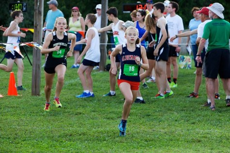 Freshman Kenzie Lloyd races to the finish line at Panorama Farms in the annual Ragged Mountain Cup on Sept. 2.