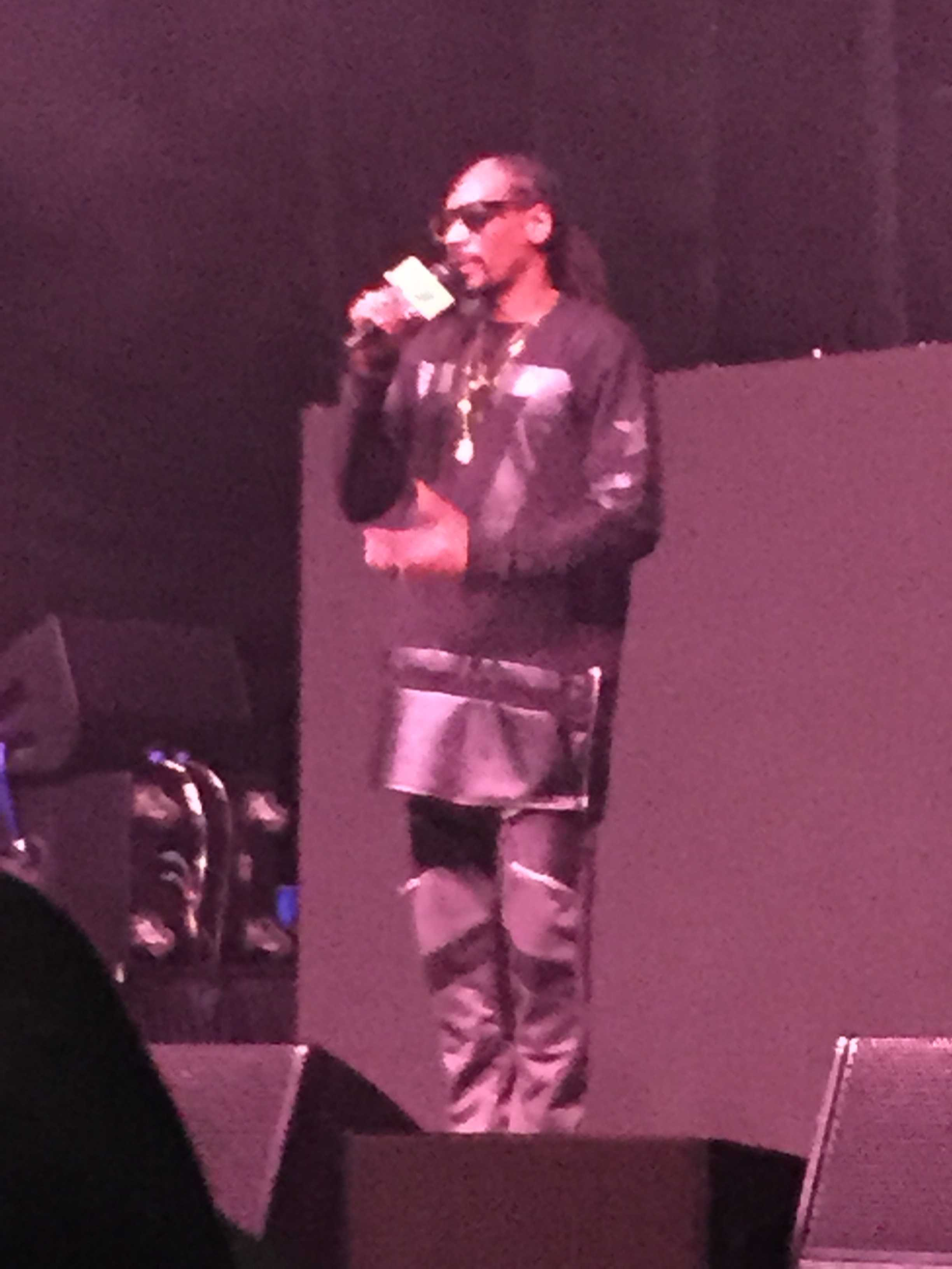 Snoop Dogg performing at the Ntelos Wireless Pavilion on April 15.