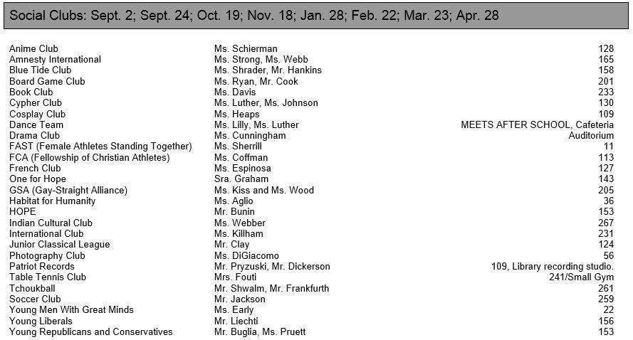 Club List 2015-2016