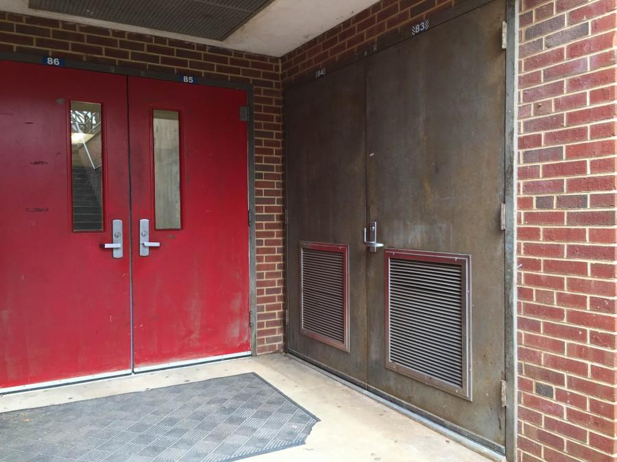 The mechanical room located beside the basement doors was the source of the odor.