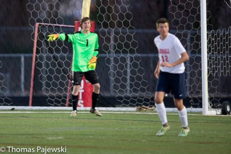 Keeper Thomas Leckrone (1) directs the defense against Mountain View on March 23. Albemarle lost 3-4.