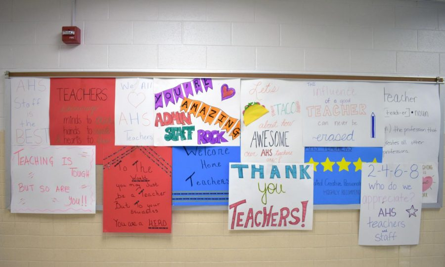 Posters made by the Key Club welcomed teachers back as they moved from Stage 3 to Stage 4.