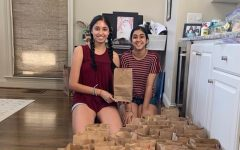Seniors Aditi Prakash and Rimi Kaur pose at home with some of the STEM kits that they made for local children. Prikash got the idea from attending the MESA BRIDGE camp that Emily Couric Scholarship winner and AHS alum Ayoade Balogun (17) created.